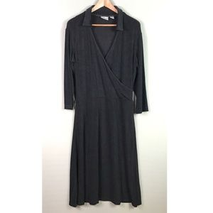 Chico's Travelers Faux Wrap Dress Black Stretch XL